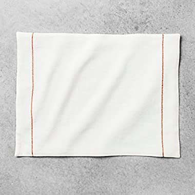 Hearth and Hand with Magnolia Embroidered Placemat Cream/Coral Joanna Gaines Collection Limited Edition