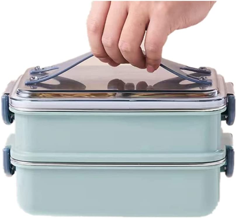 foxfiocy Bento Popularity Lunch Box Stainless 2-in-1 design low-pricing Steel Compartm