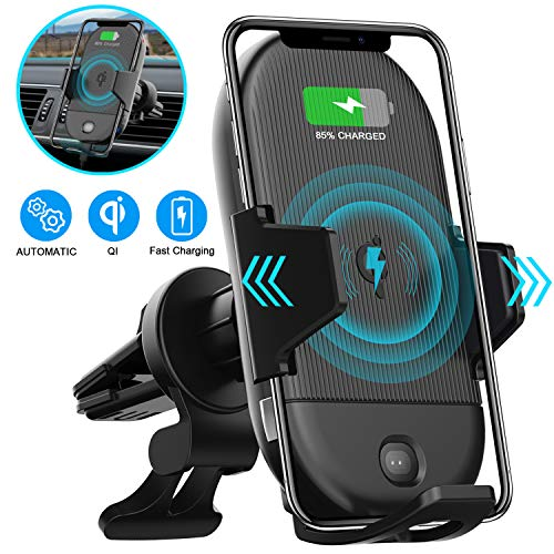 LETSCOM Wireless Car Charger,15W Qi Fast Charging Car Mount Charger Auto-Clamping Air Vent Phone Holder Compatible with iPhone 11/11Pro/11Pro Max/Xs Max/XS/XR/X/8/8+, Samsung S10/S10+/S9/S9+/S8/S8+