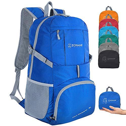 ZOMAKE Sac à Dos Compact 35L, Sac à Dos Pliable Léger, Sac de Randonnée pour Homme Femme Sports et Plein air (Bleu Foncé)