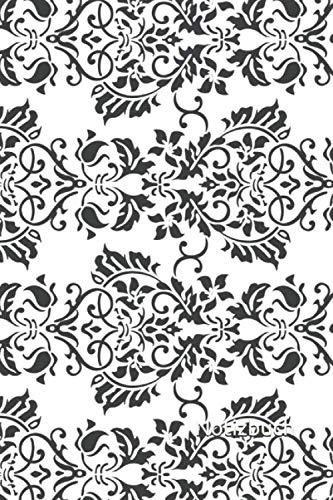 Notizbuch: Reto Notizbuch | 6x9 Zoll DIN A5 | 120 Seiten Punktraster | Tapetenmuster Notizheft | Ornamente Tagebuch | schwarzweiß Notebook