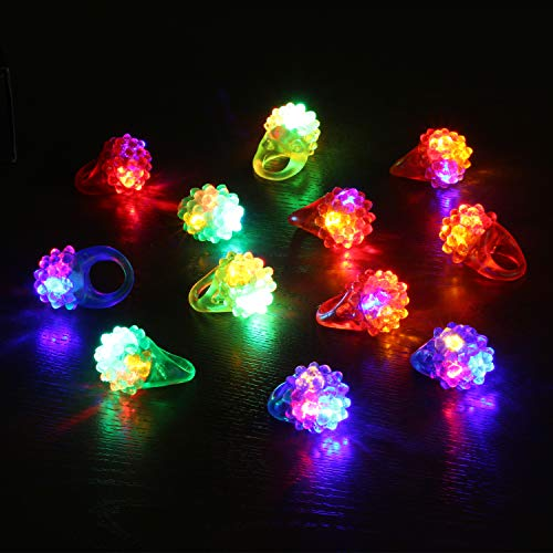 Novelty Place Party Stars Flashing LED Bumpy Jelly Ring Light-Up Toys (12 Pack)
