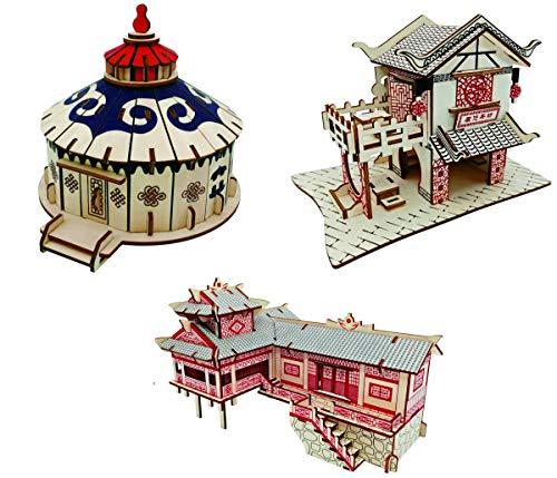 DJAT 3D Puzzles, 3 Chinesische Architekturen 230 STK, Holzgebäude Modell Zusammengesetztes Spielzeug für Kinder und Erwachsene