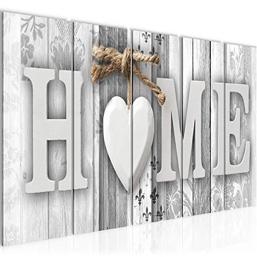 Bilder Home Holz Bretter Wandbild 150 x 60 cm Vlies - Leinwand Bild XXL Format Wandbilder Wohnzimmer Wohnung Deko Kunstdrucke Weiß 5 Teilig - MADE IN GERMANY - Fertig zum Aufhängen 503356c