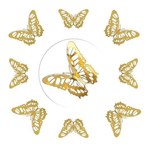 AIBAOBAO Adesivo da Parete a Forma di Farfalla 12Pz, 3D 3 Dimensioni Farfalla Rimovibile DIY Wall Sticker con Punti Adesivi per la Parete, Camera dei Matrimonio, Decorazione del Partito (Oro)