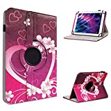 UC-Express Medion Lifetab P10602 X10605 X10607 P9702 X10302 P10400 P10506 Tablet Universal Schutzhülle aus Kunstleder Hülle Tasche Standfunktion 360° Drehbar mit den Motiv Herz Cover Hülle