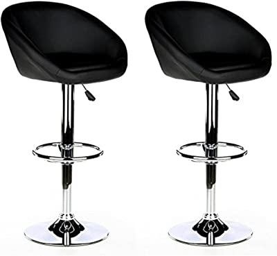 hjh OFFICE 685500 tabouret de bar, chaise de bar MELLOW noir, lot de 2, assise coque en simili-cuir au rembourrage épais, avec repose-pieds, siège pivotant, montage facile, structure robuste et stable