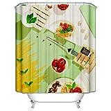 MaxAst Duschvorhang 3D Bunt Duschvorhang Teigwaren mit Tomaten Duschvorhang Wasserdicht Duschvorhang Polyester Duschvorhang 165x200 cm