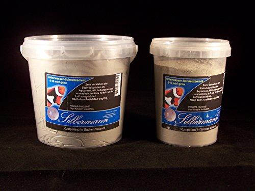 Silbermann Schnellmörtel 10, Aquarienzement, Aquarienmörtel, Riffmörtel, in verschiedenen Farben und Größen (1000 ml, grau)