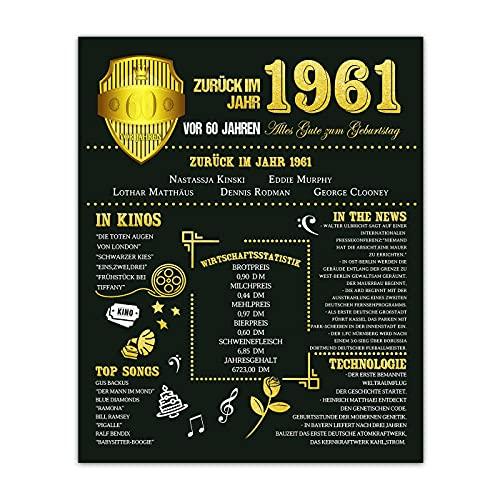 Benjia Zurück im Jahr 1961 Plakat ohne Rahmen, Back in 1961 60. Geburtstagsfeier Dekoration liefert 28x35,6 CM Wohnkultur Hochzeit Geburtstag Poster für Männer Seine (gold)