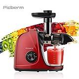 Picberm Slow Juicer - Estrattore di succo, senza BPA, con 2 modalità di velocità, centrifuga verdura e frutta, motore silenzioso e funzione inversa e rosso