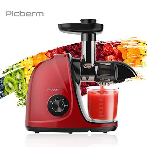 Entsafter,Picberm Slow Juicer BPA-frei mit 2 Geschwindigkeitsmodi Entsafter Gemüse und Obst Ruhiger Motor und Umkehrfunktion und Rot