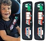 2x Protector para cinturón de seguridad HECKBO con dibujos de camión de bomberos, ambulancia...