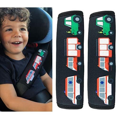 HECKBO® 2x Protezione per Cintura di Sicurezza, Spallina Imbottita, Cuscino per Auto, Copricintura per Bambini con Camion dei Pompieri, Trattore, Ambulanza - anche per Seggiolini su Auto e Bici