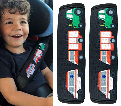 2x Protector para cinturón de seguridad HECKBO® con dibujos de camión de bomberos, ambulancia y tractor - para niños - Protector para cinturón, almohadilla para el hombro para el cinturón de seguridad