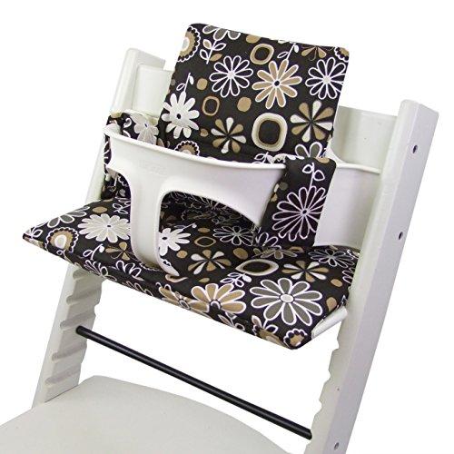 Bébé Kit de Dreams Siège Coussin Coussin d'assise pour chaise haute Stokke Tripp Trapp * 20 couleurs * Coussin de rechange 2 pièces (Braun Fleurs Marron)