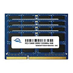 4 x 4GB (16.0GB), 1333MHZ, DDR3 SO-DIMM, PC3-10600, 204 Pin, 1.5V, 128Meg x 8, Non ECC, Dual Rank, Non Parity, Memory Upgrade Kit Memory Upgrade Module For iMac Memory Upgrade KIt For Mid 2010/2011 21.5inch and 27inch iMac Models and PC Laptops compa...