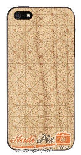 Lazerwood 22185 - Cover, Custodia in Legno con Motivo Cellular Memory di Andy Gilmore per iPhone 5/5S, con Pellicola Proteggi Schermo, Colore: Legno di ciliegio