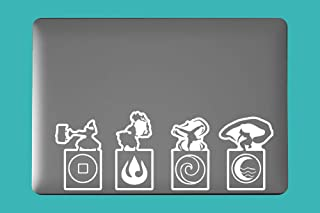 Earth Fire Air Water Four Elements Aang Avater Inspired Vinyl Art Decal for Laptop Car Cup Mug Handmade Die-Cut Vinyl Decal Sticker (White)