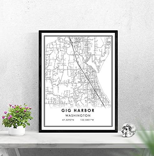 LTGBQNM Gig Harbor map print poster canvas | Gig Harbor Street map | Washington Gig Harbor city map print poster canvas 20X28inchX1 No Frame