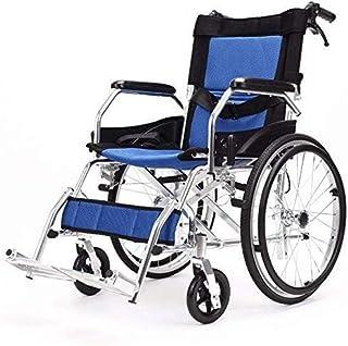 ZJN-JN 車いす 歩行補助用品 厚さのアルミニウム車椅子、折りたたみ/軽量/ハンドプッシュ/高齢ポータブル/トラベル/スクーター/無効、軽量車いす100KG 介護・介助兼用