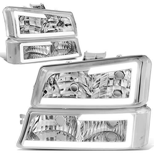 DNA Motoring HL-LB-CSIL03-CH-CL1 Chrome Housing 3D LED DRL Headlight Bumper Lamp Set Replacement For 03-07 Silverado