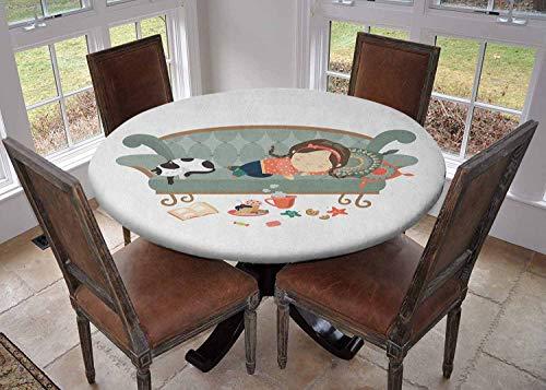 Ronde tafelkleed keukendecoratie, tafelkleed met elastische randen, Diameter 60