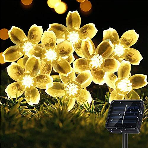 Sporgo - Cadena de luces solares para exteriores, 7 m, 50 ledes, con 8 modos, IP65, resistente al agua, para jardín, árboles, terrazas, Navidad, bodas, fiestas
