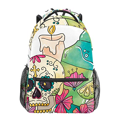 Sugar Skull with Candle and Tequila School Backpack Large Capacity Canvas Backpack Satchel Casual Travel Daypack for Children Adult Teen Women Men