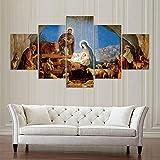 MWDDDEA® Impresión HD Pintura 5 Piezas (Sin Marco: 200X100Cm) Jesus Cristiano Cuadros Modernos Salón Decoracion De Pared Canvas Prints, Wall Art Modular Poster Mural Decorativo