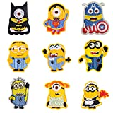 9 Pieces Minions Despicable Me Little Yellow Man with Big Eyes Iron On Sew On Embroidered Patch for Jackets Backpacks Jeans and Clothes Badge Applique Emblem Sign Anime Motif Decal