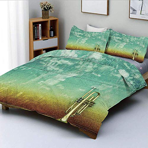 Duvet Cover Set,Old Aged Worn Single Trumpet Stands Alone Against a Faded Wall Jazz Music Theme Photo Decorative 3 Piece Bedding Set with 2 Pillow Sham,Sea Green Brown,Best Gift