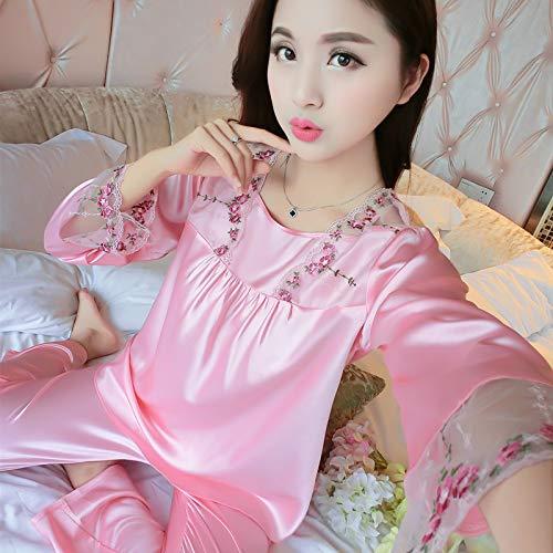 KNJLH Langarm-Anzug Der Schlafanzug-Frühlingsfrauen Dünner Silk Housewear Zwei Lose Anzüge, L, 108 Rosa