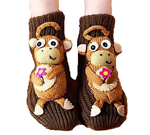 PreSox Non-slip Knit Sweater Warm Household Floor Socks for Women (brown monkey)(Size: One Size)