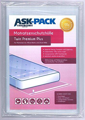 ASK Pack Bolsa de Colchón Twin Premium para un Colchón de 140cm de Ancho / 25cm Grosor/y hasta 200cm Largo - con Cierre Adhesivo - Reutilizable - Extra Fuerte 100µ - Extra Largo 260 cm