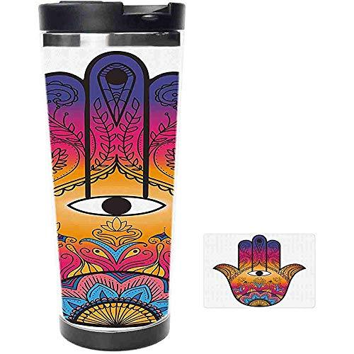 Travel Mug-bunte ethnische Muster Henna Tattoo Kunst Lotus Blumen Arabesque mystischen Edelstahl Kaffeetasse & Tasse-Thermal Cup mit Spritzwassergeschütztem Schiebedeckel-16oz