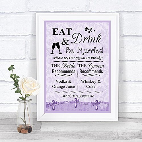 Lila Shabby Chic Signature Drinks Cocktail Bar Gepersonaliseerde Bruiloft Teken Print Framed Oak Small