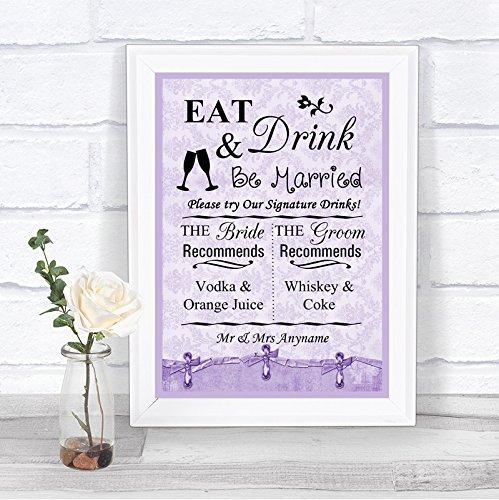Lila Shabby Chic Signature Drinks Cocktail Bar Gepersonaliseerde Bruiloft Teken Print Framed Oak Small