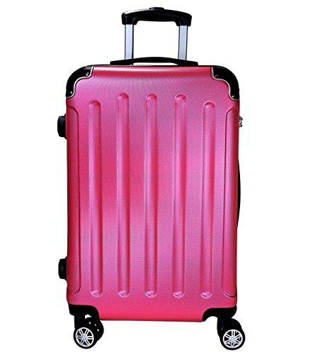 Reisekoffer BERLIN Hartschale Trolley M Reise Koffer Case Tasche Trolly Doppelrollen (Rosa)