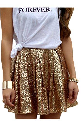Damen Pailletten Röcke Gefalteten Swing Ausgestellte Goldene Party Shiny Minirock Skirt Golden S