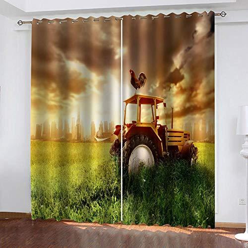 ZFSZSD Vorhang Traktor Größe:B150 x H166cm Blickdicht Schlaufen Verdunkelungsgardinen Gardinen Schlafzimmer 2er Set
