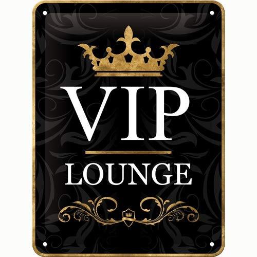 Nostalgic-Art VIP Lounge – Geschenk-Idee für besondere Persönlichkeiten Blechschild 15x20 cm, aus Metall, Bunt, 15 x 20 cm
