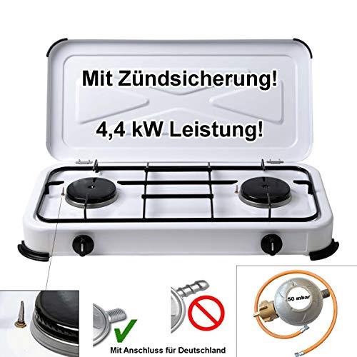 CAGO Campingkocher Gaskocher 2-flammig 50 mbar Weiss mit Zündsicherung inkl. Gasschlauch 100cm und Gasdruckregler 50mbar