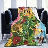 Maya The Bee Cartoon Blanket Novelty Flannel Throw Blankets Luxury Ultra-Soft Micro Fleece Blanket for Bed Couch Sofa Blanket