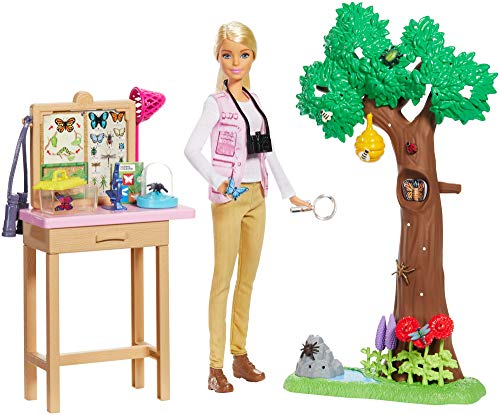 Barbie GDM49 - National Geographic Insektenforscherin Berufe Puppe und Spielset, Spielzeug ab 3 Jahren