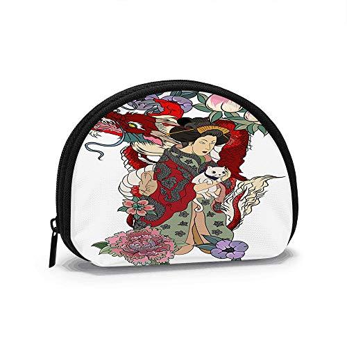 Tradizionale giapponese Stile tatuaggio Donne Kimono bellezza Moda antica portamonete, Mini Borsa Cambio cerniera portamonete Piccola Borsa portafoglio per le Donne Ragazze