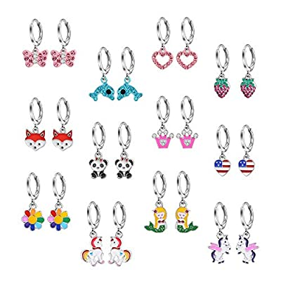Bevan 12 Pairs Hypoallergenic dangle hoop earrings,Cute Multiple colour fox flower flag dangle hoop earrings for little girls and women