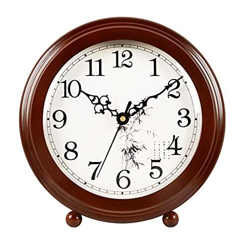 XGJJ Inicio Reloj de escritorio pequeño reloj de madera Mute Sala de estar Decoración de escritorio chino retro pequeño reloj de mesa