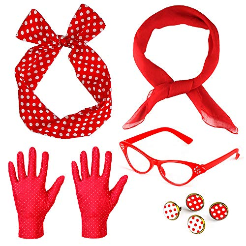Beelittle 50's Damen Kostüm Accessoires Set Chiffon Schal Polka Dot Handschuhe Bandana Krawatte Stirnband Ohrringe Retro Cat Eye Eglasses (Rot)
