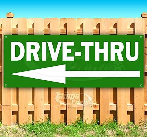 Drive Thru 13 oz ※アウトレット品 Banner Heavy-Duty Single-S オープニング 大放出セール Vinyl Non-Fabric